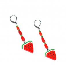 Handmade watermelon slice earrings, red coral branch beads, green seed beads, watermelon slice charm