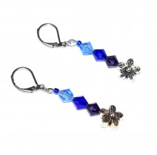 Handmade blue flower earrings, blue and purple faceted crystals, antiqued silver flower bead