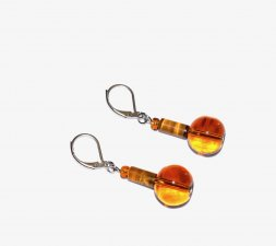 Handmade tigers eye earrings, translucent brown glass beads and tiger's eye tube beads