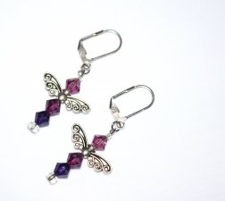 Handmade fairy wings earrings, purple Swarovski crystals, fairy wing beads