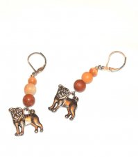 Handmade dog earrings, red malachite and brown cat
