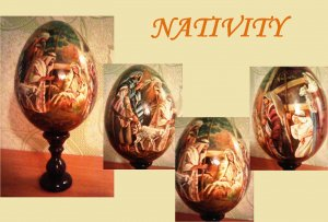 Nativity wooden egg/Easter- Nativity/Painting on the egg (in a circle).