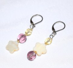 Handmade purple & white earrings, pale gold crystal, fluted purple crystal, mother-of-pearl flower