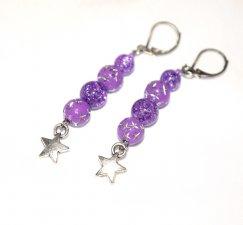 SOLDHandmade purple star earrings, purple crackle glass and acrylic beads, star charm