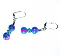 Handmade magenta and teal earrings, two tone glass rounds with faceted teal crystal bicone