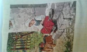 THIS LITTLE RUSSIAN GIRL SITTING on a DOORSTEP PICTURE is  is a beautiful finished Bulgarian Goblin unframed