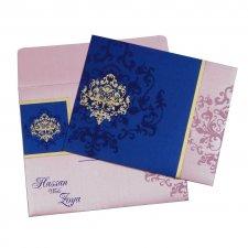 Pink & Blue Indian Wedding Invitation