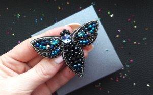Moth beaded brooch