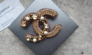 Brooch Chanel, beaded brooch chanel, chanel jewerly, beaded jewerly, chanel pin, beaded pin, handmade brooch