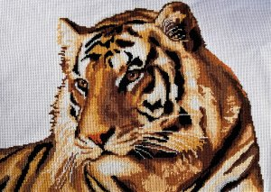 """The picture embroidered with a cross """"Tiger"""""""