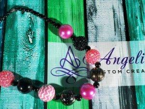 Pink and Black Bubblegum Necklace