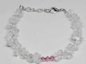 Genuine Natural Quartz with Clear Swarvoski Crystals Bracelet