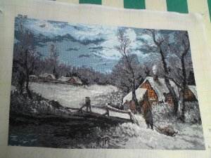 THIS BEAUTIFUL SNOW SCENE PICTURE is a beautiful completed Bulgarian Needlepoint Goblin picture Unframed