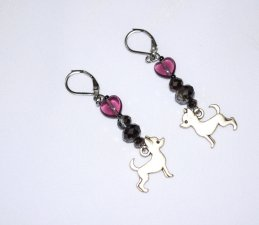 Chihuahua earrings with purple heart & grey rainbow crystals
