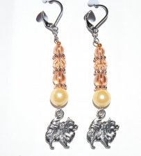 Pomeranian earrings with peach crystals & ivory glass pearl bead