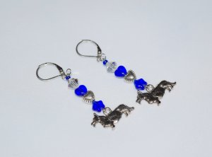 Corgi earrings with Czech crystal and blue pressed glass heart & star beads
