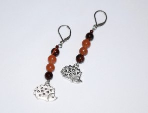 Hedgehog earrings with red tigers eye and red aventurine beads, hedgehog charm