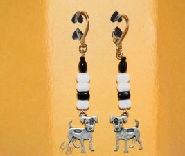 Handmade dog earrings with spotted dog charm and vintage black and white German beads