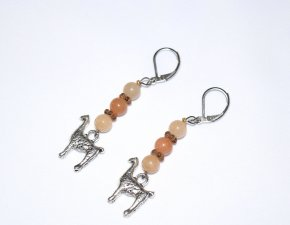 Handmade llama earrings, llama charm topped by aventurine beads