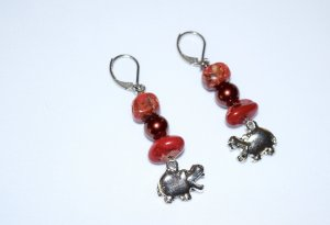 Handmade hippo earrings with red and pink jasper, funny hippo charm and dark red glass pearl bead