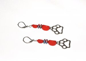 Handmade pawprint earrings with red wood and glass beads
