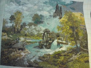 THIS is a BEAUTIFUL WATERMILL PICTURE is a beautiful finished Bulgarian goblin Needle point unframed
