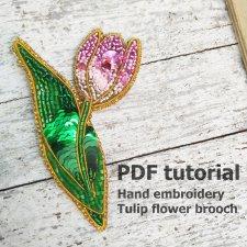 Step by step pdf, beadwork tutorial, brooch tutorial, embroidery brooch, diy brooch, bead embroidery kit, beadwork patte