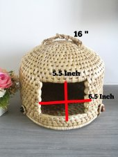 Pet house 16 inch cat cave gifts for home straw woven pet bed pet furniture cat bed woven cats house handmade