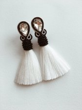 Soutache  earrings with tassels, crystals and crystal, carnations, handmade