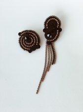 Soutache earrings and rhinestone chains, Swarovski crystals