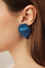 Soutache earrings round shape, with velvet inlay, crystals, crystal, handmade