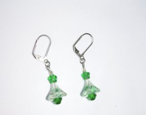 Green holiday earrings with sparkling green Swarovskii faceted crystal and Czech pressed glass beads