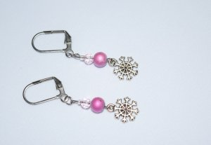 Snowflake earrings with fuchsia beads