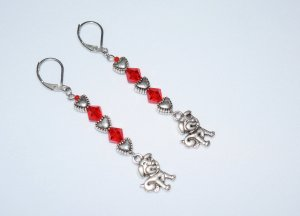 Puppy dog earrings with antiqued silver hearts and red crystals