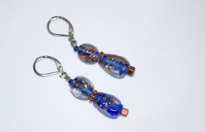 Blue and cooper earrings, lampworked beads with copper flower spacer and cube beads