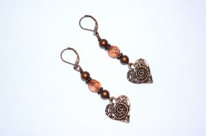 Copper heart earrings with fire polished crystals and red tigers eye