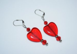 Red heart earrings with Czech pressed glass and crystal beads