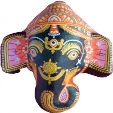 Papier Mache Mask of Lord Ganesha (Black)