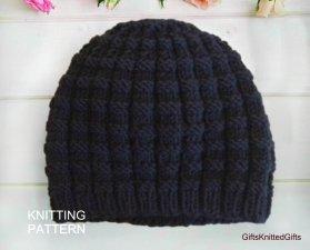 KNITTING PATTERN Hat for Men, Hand Knit Hat Pattern, Beginner Knit Hat Pattern, Hat Knitting Patterns
