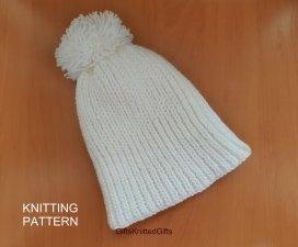 KNITTING PATTERN Hat, Knit Hat Pattern, Easy Knitting Patterns, Knit Hat with pom pom