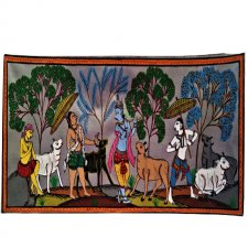 A Pattachitra Painting of Lord Krishna and his elder brother Balaram