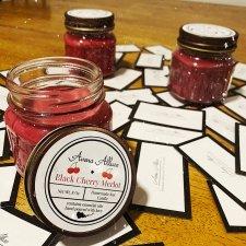 Black Cherry Merlot 8oz Soy Candle. Mason Jar with Lid.