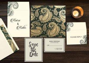 Sea Green Matte Paisley Themed Muslim Wedding Invitation
