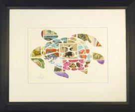 """Vintage Postage Stamp Art - """"Sea Turtle"""""""
