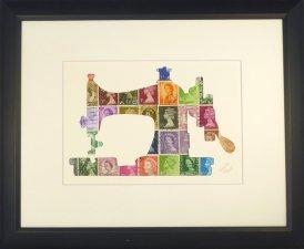 "Vintage Postage Stamp Art - ""Sewing Machine"""