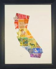 "Vintage Postage Stamp Art - ""State of California"""