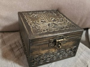 Secret Compartment Mjolnir and Dragons themed Square jevelery box with hidden section
