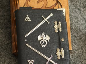 Celtic Legend series Handmade leather black paper notebook in wooden box