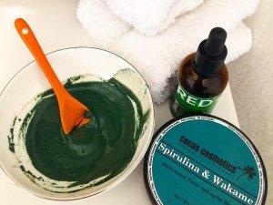 Spirulina green facial mask   Antioxidant clay mask   Anti aging clay facial mask   Acne treatment clay Organic mask, Spirulina clay mask