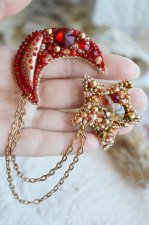 Pair of handmade brooches moon and star embroidered with beads and crystals